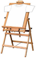 An easel with a t-shirt on it.
